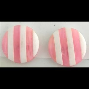 VINTAGE 1950's Earrings Round Pink and White